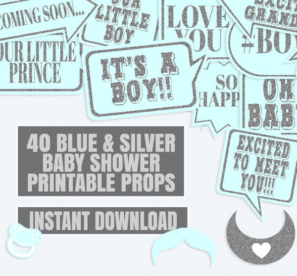 40 x Blue and Silver Baby Shower Photo Booth Props