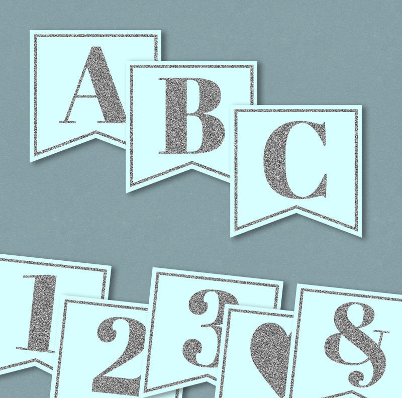 Blue and Silver Glitter Printable Banner - Full Alphabet/Numbers ...