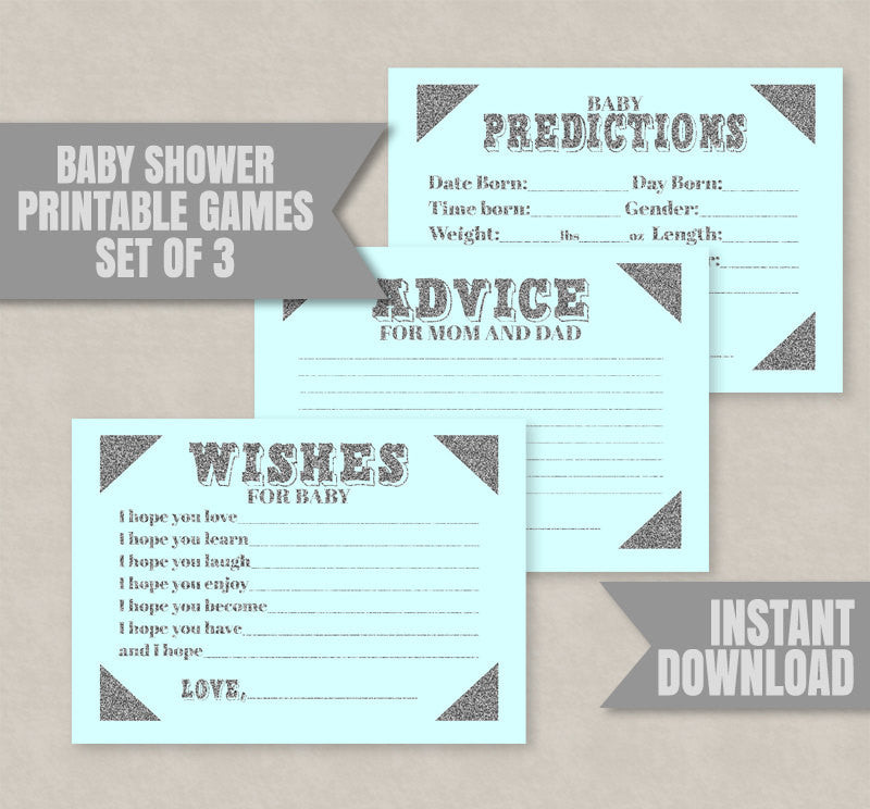 Blue Baby Shower Printable Games, Set of Three, Blue and Silver Glitter