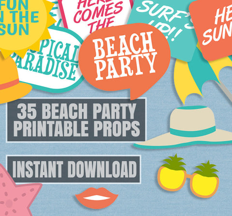 35 x Beach Theme DIY Printables, Summer Party Props