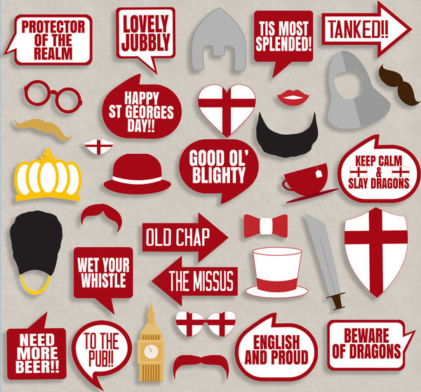35 x St Georges Day Printable Photo Booth Props