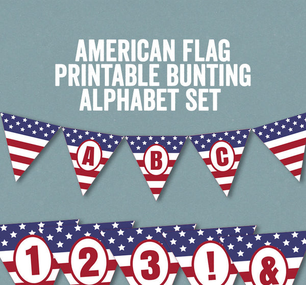 Printable American Flag Bunting USA - Full Alphabet/Numbers
