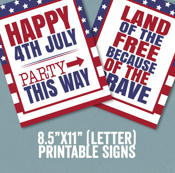 USA 4th July Printable Party Set, Photo Booth Props, Tags x 2, Bunting, Signs x 5 and Cupcake Wrappers