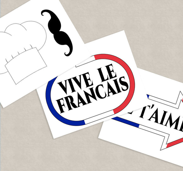 35 x French Party Photo Booth Props