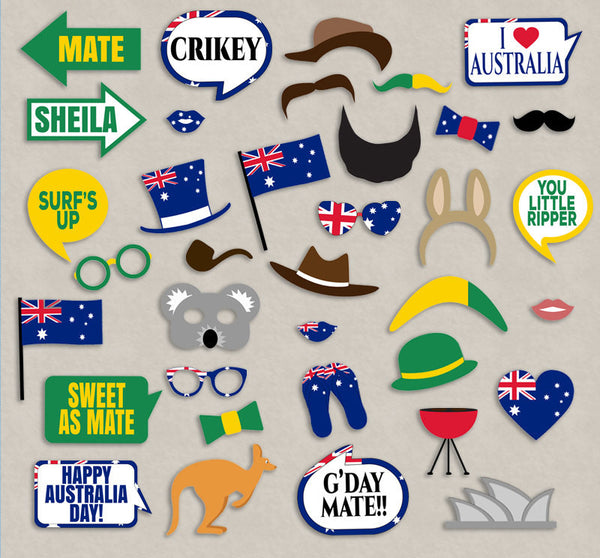 35 x Australia Day Party Printable Props