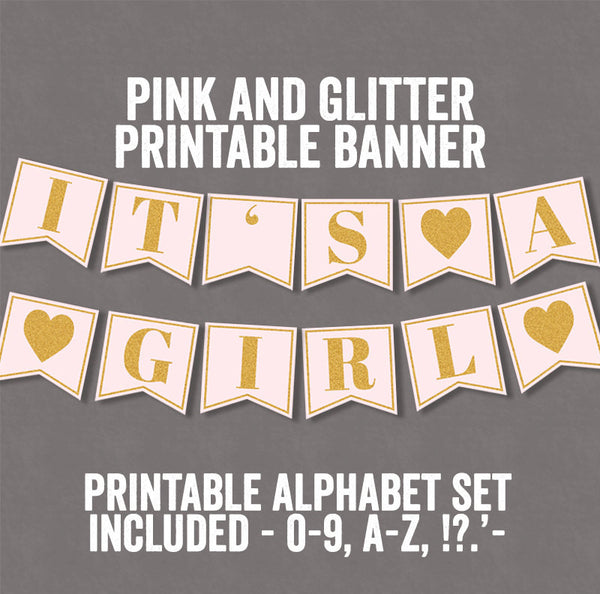 Pink Baby Shower Party Set Printables - Props, Cupcake Wrappers, ABC Banner, Gift Tags & Games