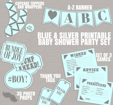 Blue Baby Shower Party Set Printables - Props, Cupcake Wrappers, ABC Banner, Gift Tags & Games
