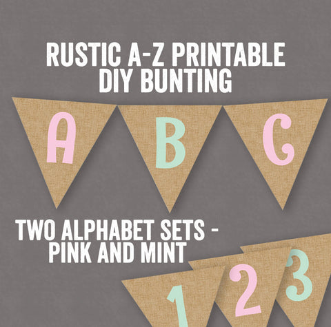 Printable DIY Mint and Pink Rustic Bunting - Full Alphabet/Numbers