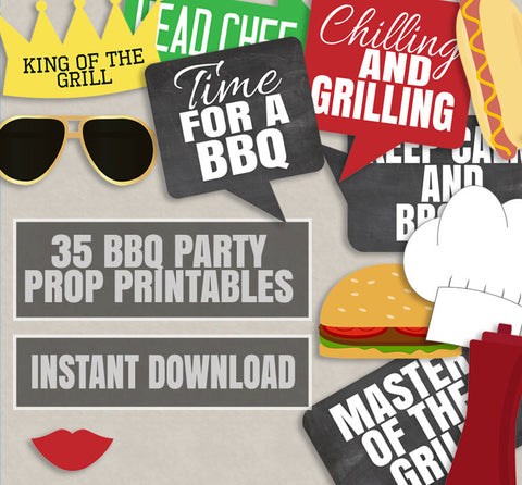 35 x BBQ Party Photo Booth Prop Printables