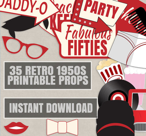35 x Retro 50s Theme Party - Red and Cream Diner Party Props