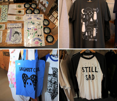 The Sad Ghost Club merch in Co-LAB bristol!