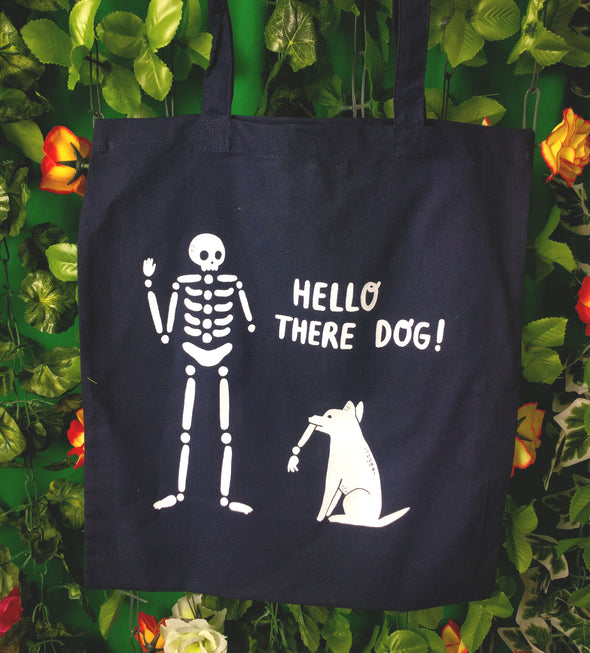 Skelly And Dog Navy Tote Bag