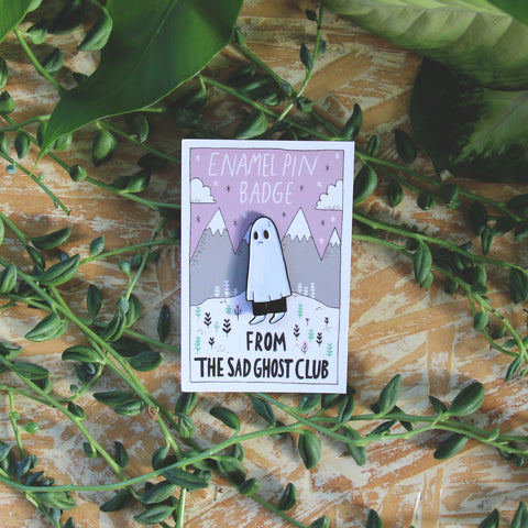 Sad Ghost Enamel Pin
