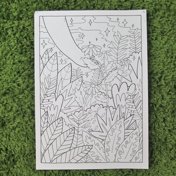 ORIGINAL - Colouring Book Page - Bushes and Leaves