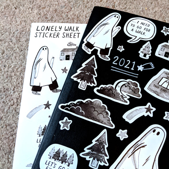 Lonely Walk A5 Sticker Sheet