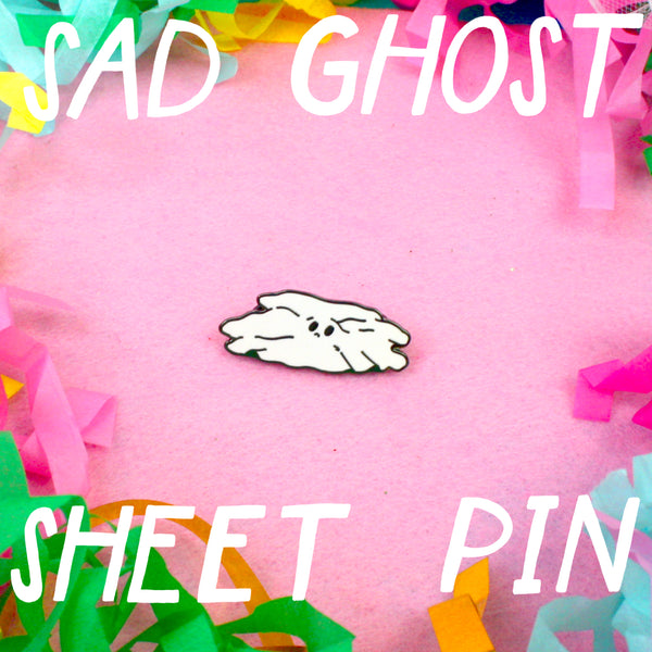 Sad Ghost Sheet - Enamel Pin