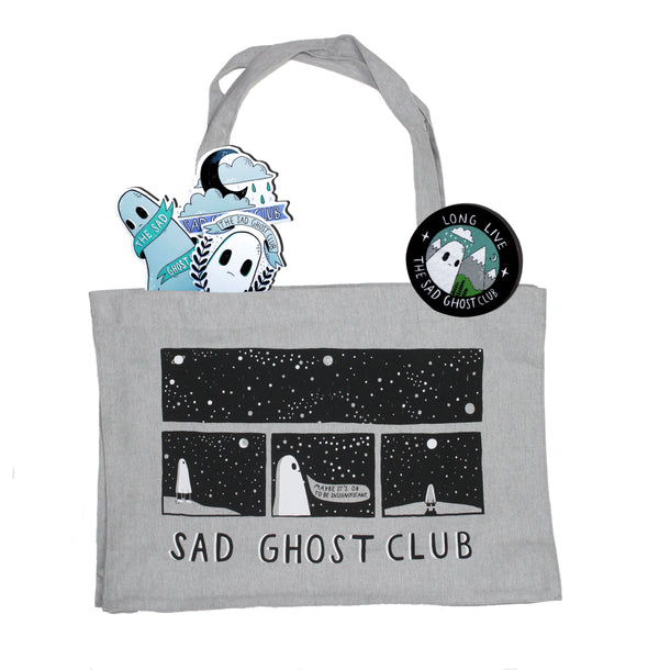 LIMITED EDITION 'Space Thoughts' Bundle - Grey Woven Shopper Bag, Patch & Stickers