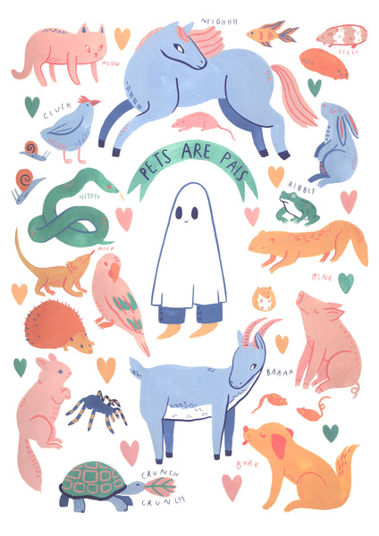 Pets Are Pals - A4 Giclee Print