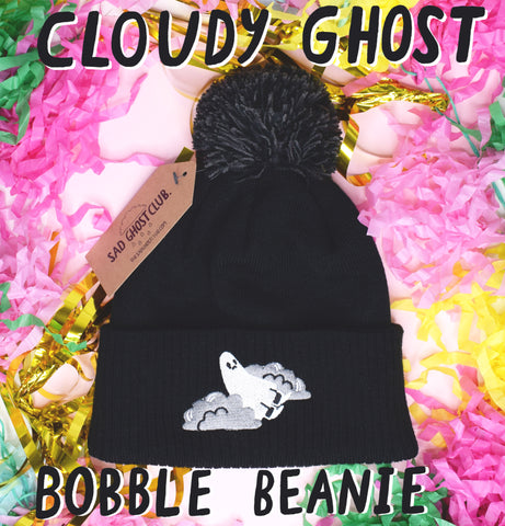 Cloudy Ghost Black Bobble Beanie