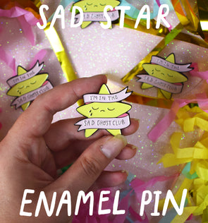Sad Star Enamel Pin