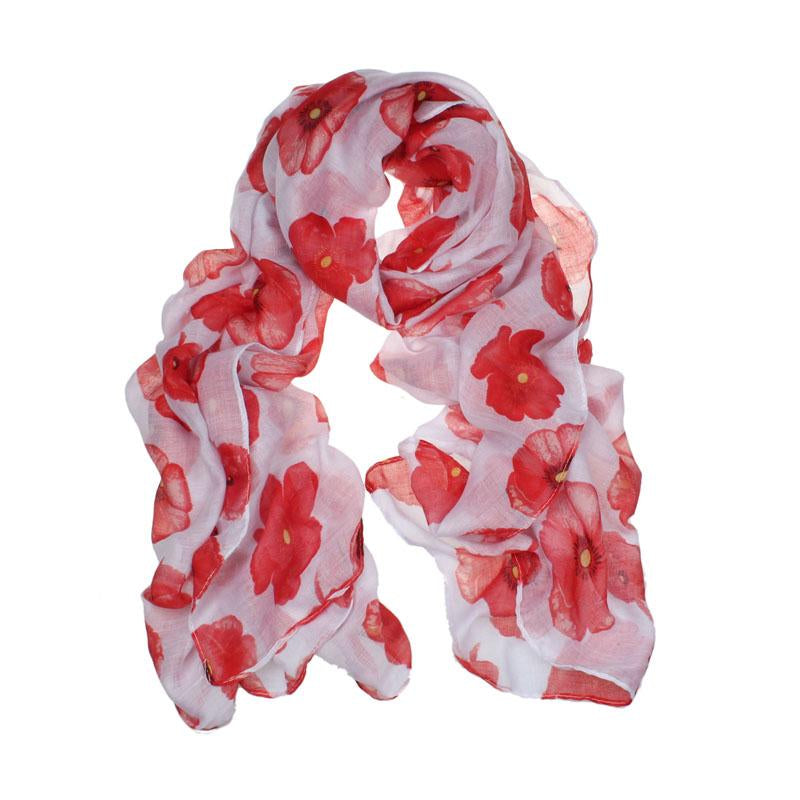 Poppy Print Ladies Maxi Scarf