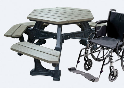 Handicap Accessible Recycled Plastic Hexagon Picnic Table