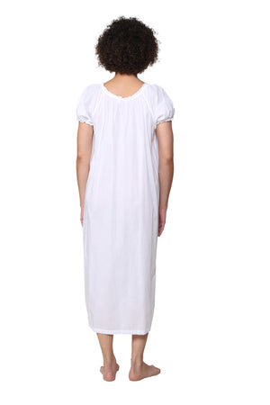La Cera Embroidered Gathered Short Sleeve Gown