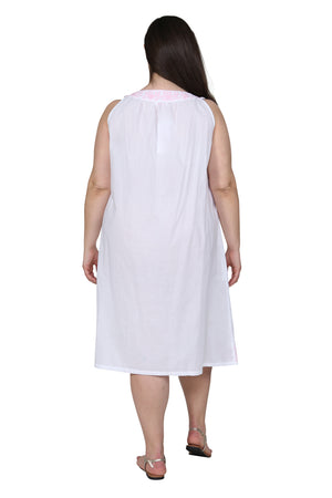 La Cera Plus Size Sleeveless Gown With Contrast Embroidery