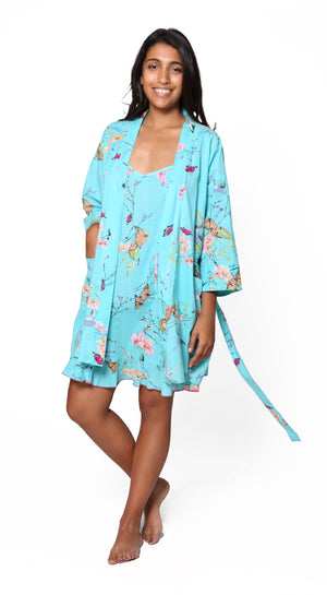 Aqua Floral Cotton Robe
