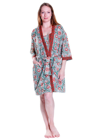 Cotton Celadon/Red Robe