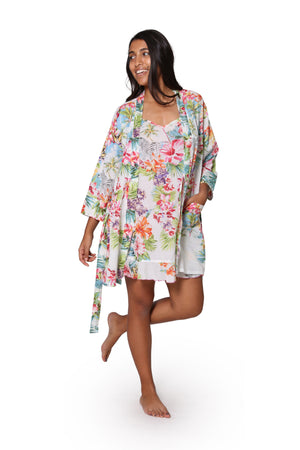 White Tropical Cotton Robe
