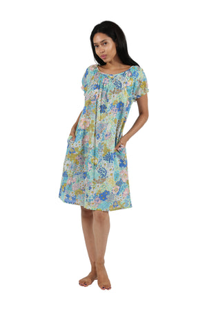100% Cotton Smocked Floral Chemise