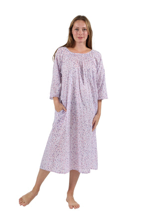 100% Cotton Smocked Floral Print Gown