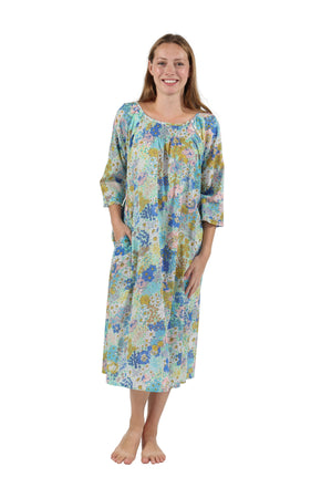 100% Cotton Smocked Blue Floral Print Gown
