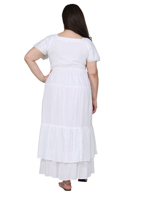 La Cera Plus Size Embroidered Tiered Gown