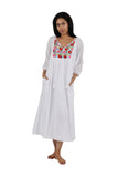 100% Cotton Embroidered Gown With Lining