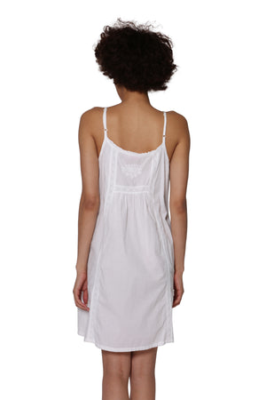 La Cera Embroidered Bib Sleeveless Chemise