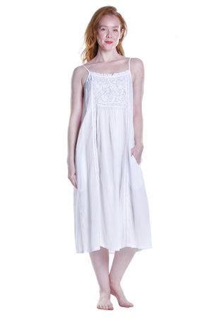 La Cera Embroidered Bib Yoke Sleeveless Gown