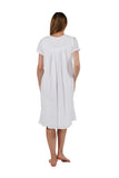 Cap Sleeve 100% Cotton White Embroidered Chemise