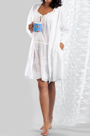 La Cera Embroidered Short Robe - La Cera™ - 2