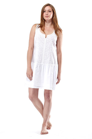 La Cera Sleeveless Floral Embroidered Chemise