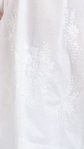 100% Cotton White Embroidered Plus Size Gown