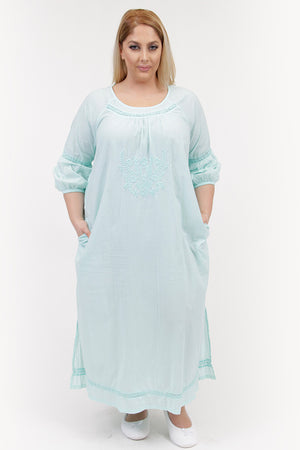 La Cera Plus Size Embroidered Night Gown - La Cera™ - 4
