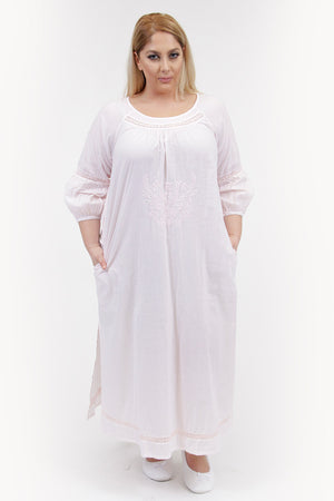 La Cera Plus Size Embroidered Night Gown - La Cera™ - 5