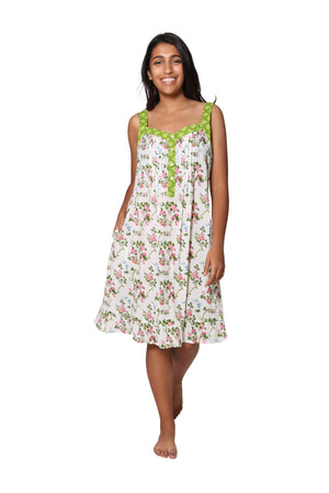 100% Cotton White Floral Print Chemise