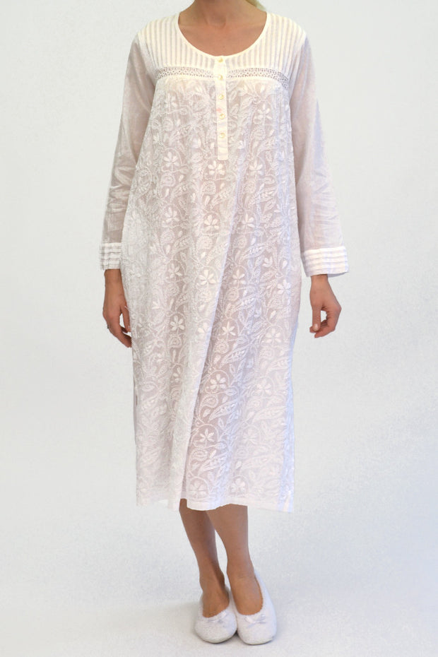 La Cera Long Sleeve White Embroidered Gown - La Cera™ - 1