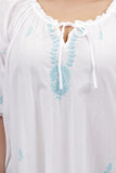 La Cera Plus Size Smocked Embroidered Nightgown - La Cera™ - 2