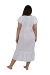 Plus Size La Cera Double Cap Short Sleeve Cotton Embroidered Gown