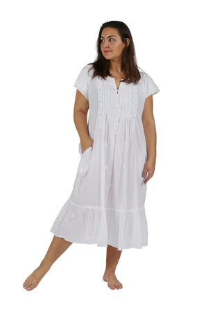 417bfa5b838 Plus Size La Cera Double Cap Short Sleeve Cotton Embroidered Gown