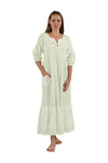 100% Cotton Embroidered Long Sleeve Gown